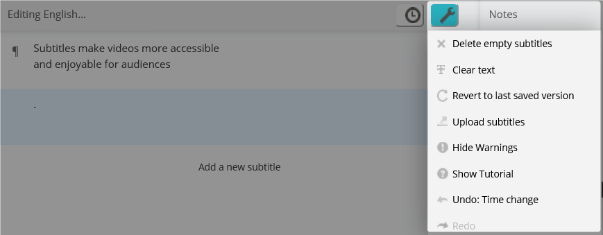 Subtitle tools (wrench icon) dropdown menu open and highlighted in the Amara Editor.