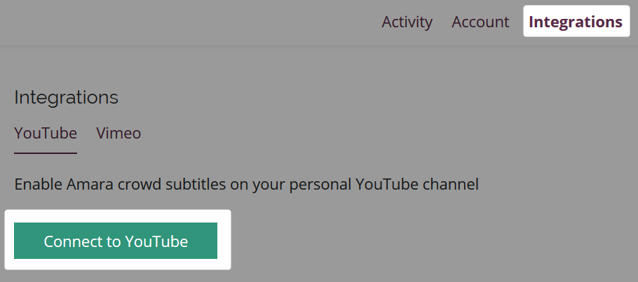 Account integrations tab with Connect to YouTube button highlighted