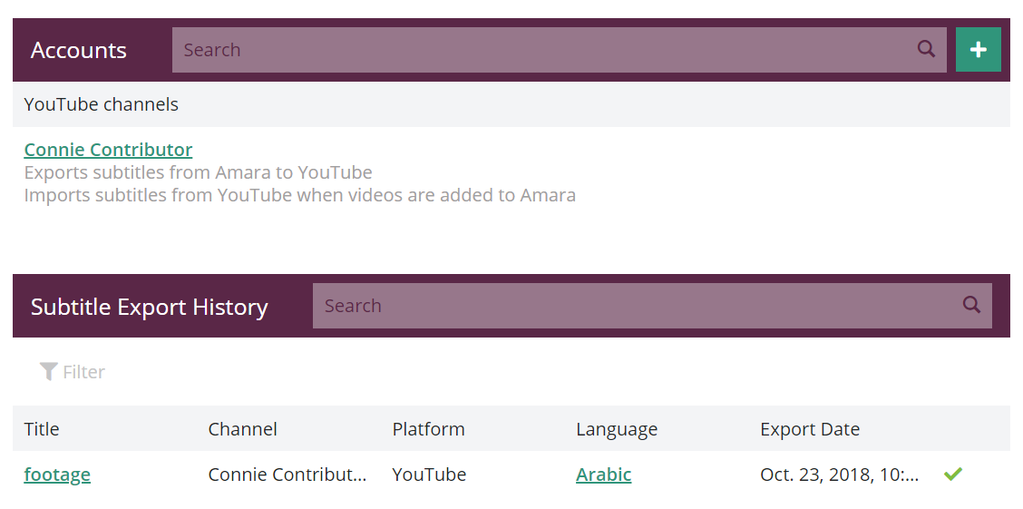 Integrations settings page with connected accounts and subtitle export history from an Amara team