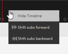 Detail screenshot of the timeline right-click menu.