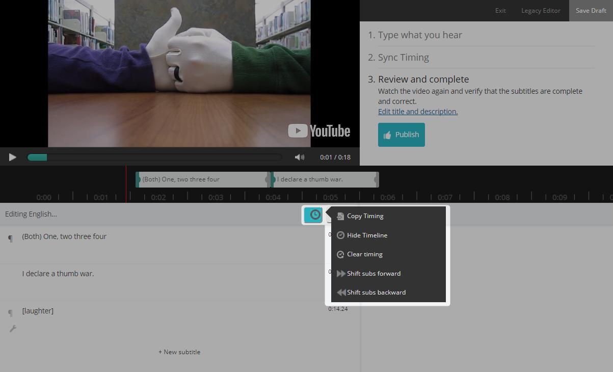 Screenshot of Amara Editor with Timing Tools menu highlighted.