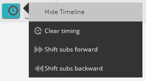 Detail screenshot of Timing Tool (click icon) selected, with Hide Timeline highlighted.