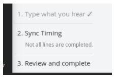 The words Not all lines are completed appear under Sync Timing in the Progression Panel.