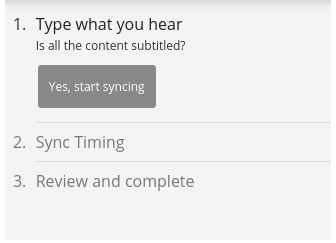 The Yes, start syncing button is grayed out under the Type what you hear section in the Progression Panel.