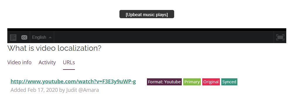 Screenshot of URL below Amara video player