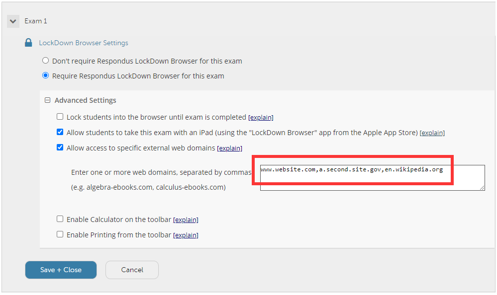 Domains inside the LockDown Browser settings.