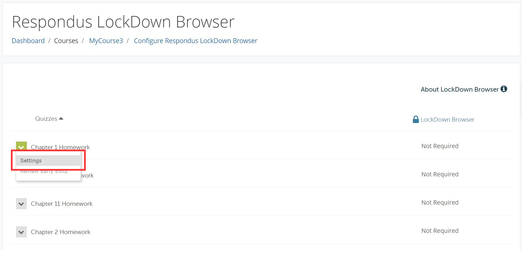 LockDown Browser course options.
