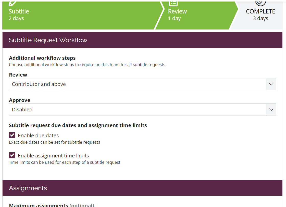Screen shot of part of the Workflow area on a New Style team.