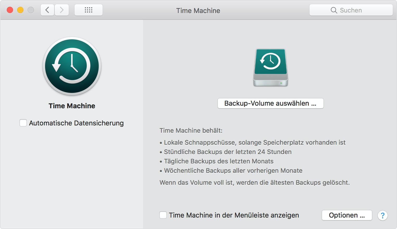 Fenster mit den TimeMachine-Einstellungen