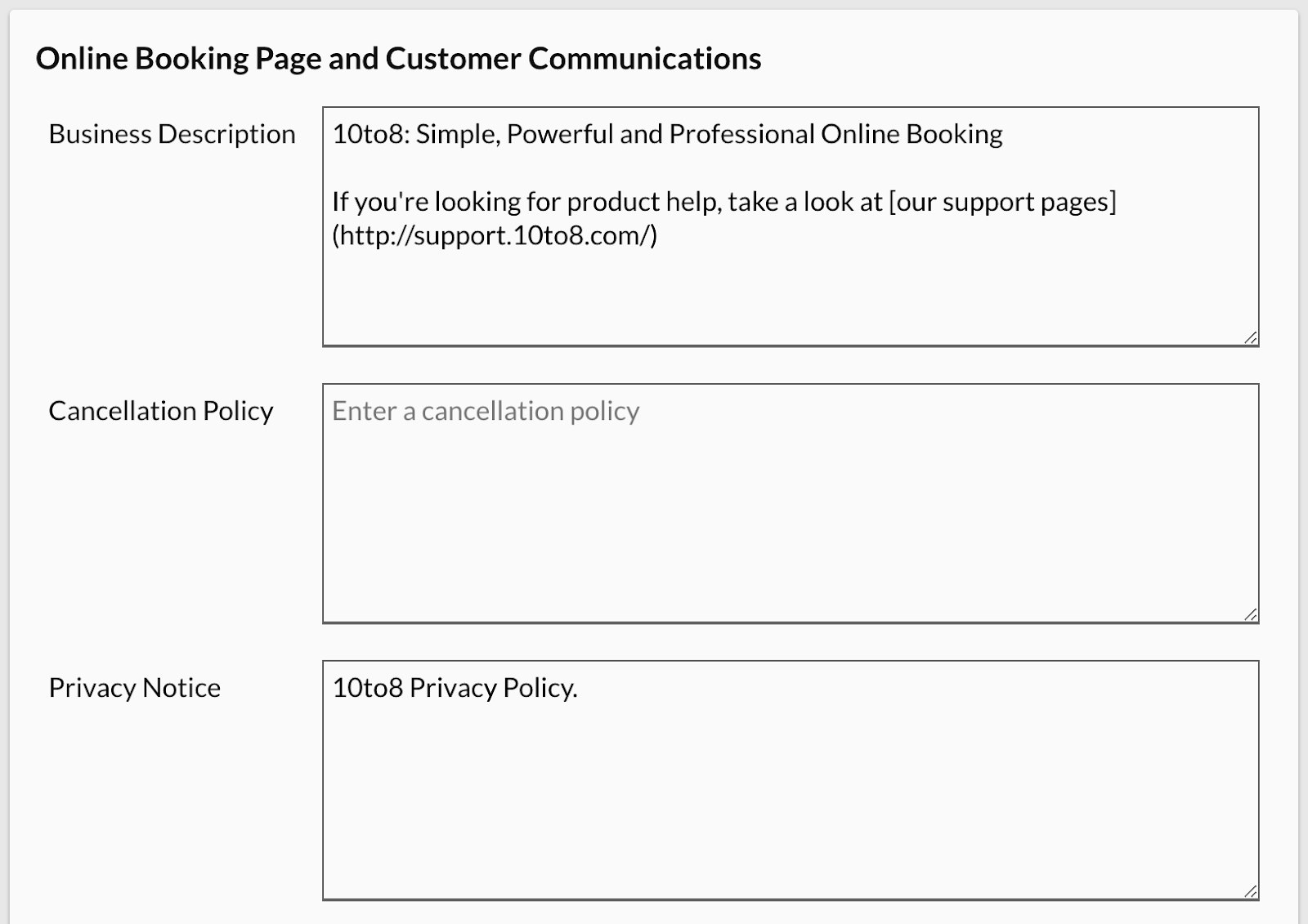 Additional Business Details settings offered by 10to8