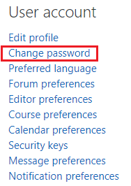 User account change password