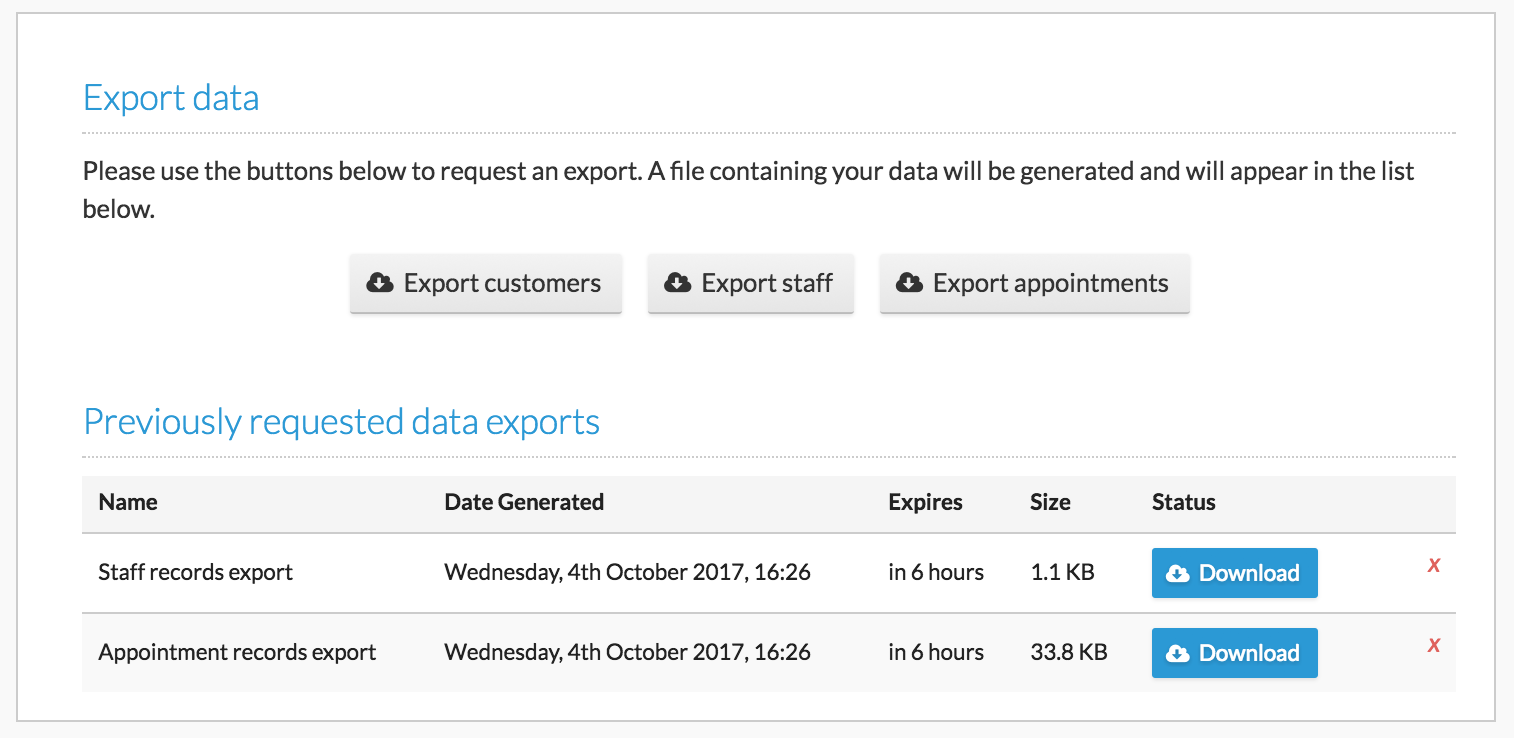 By heading to 'Inbox & Reports > Export Data', you will be able to export information to spreadsheets.