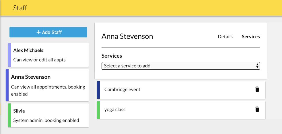 add service to staff