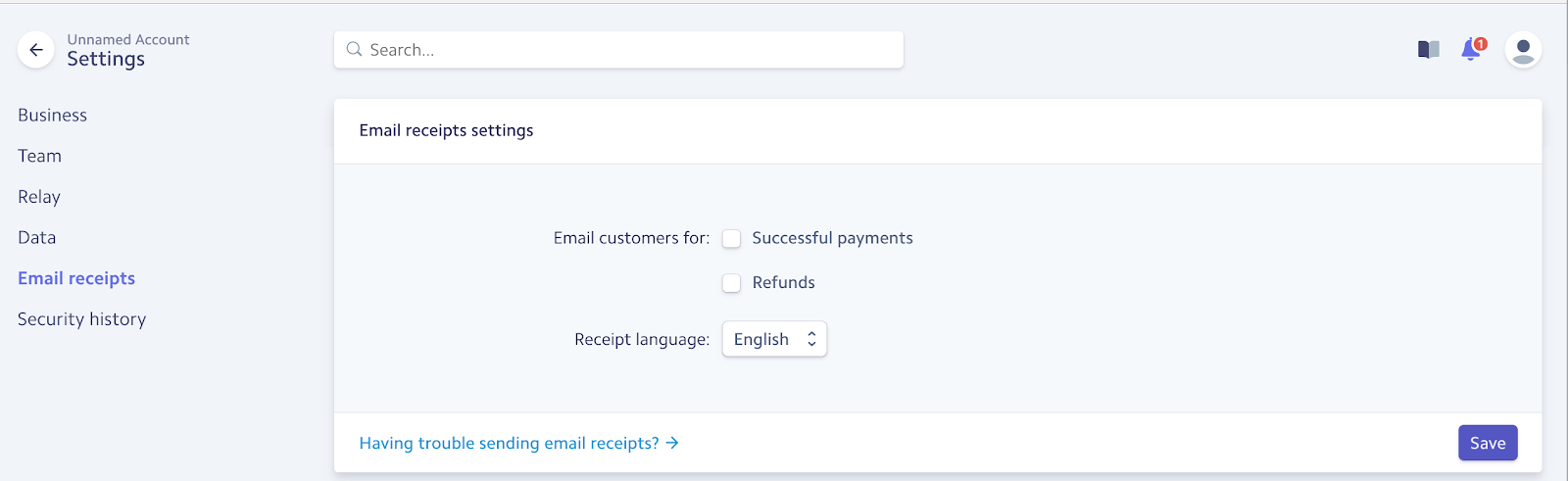email receipts