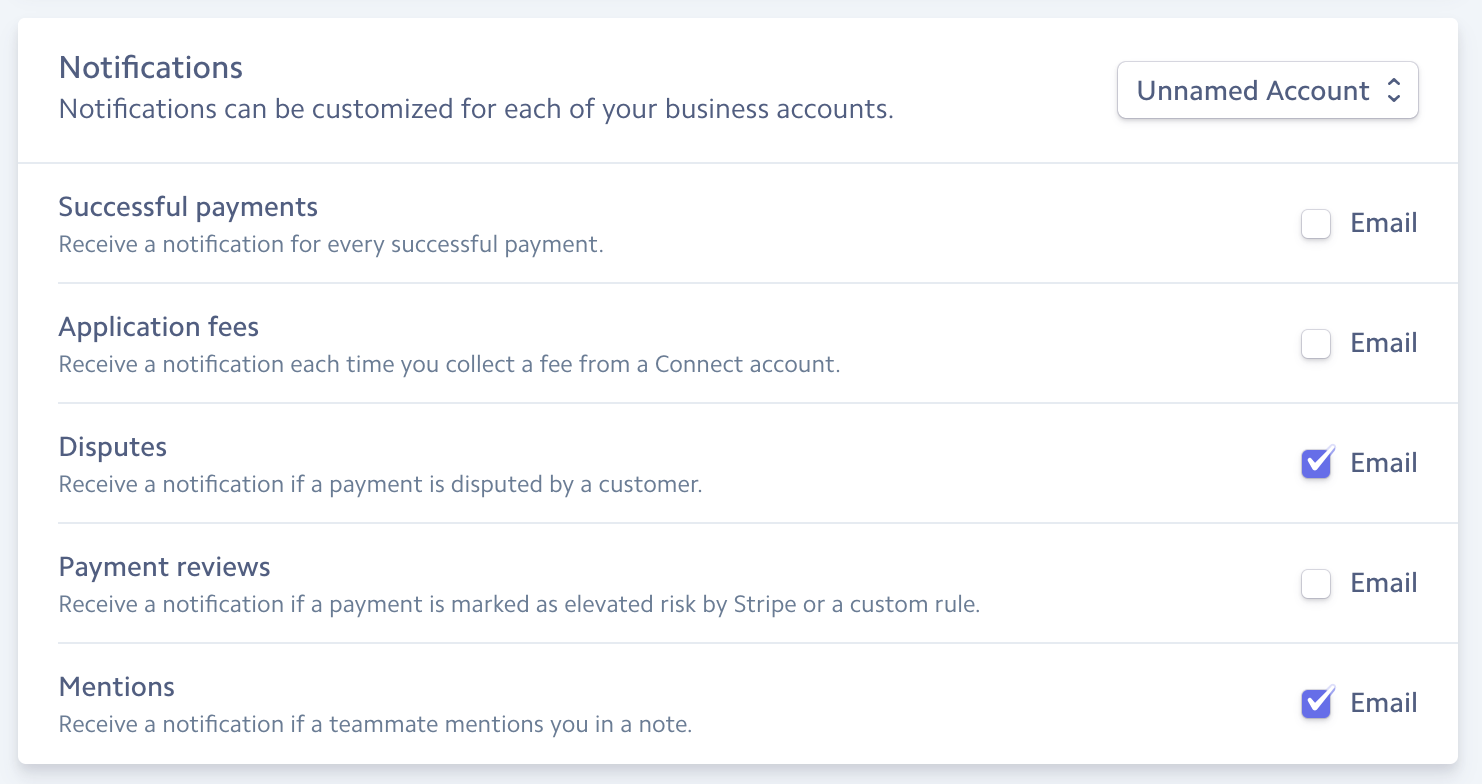 notifications of payment