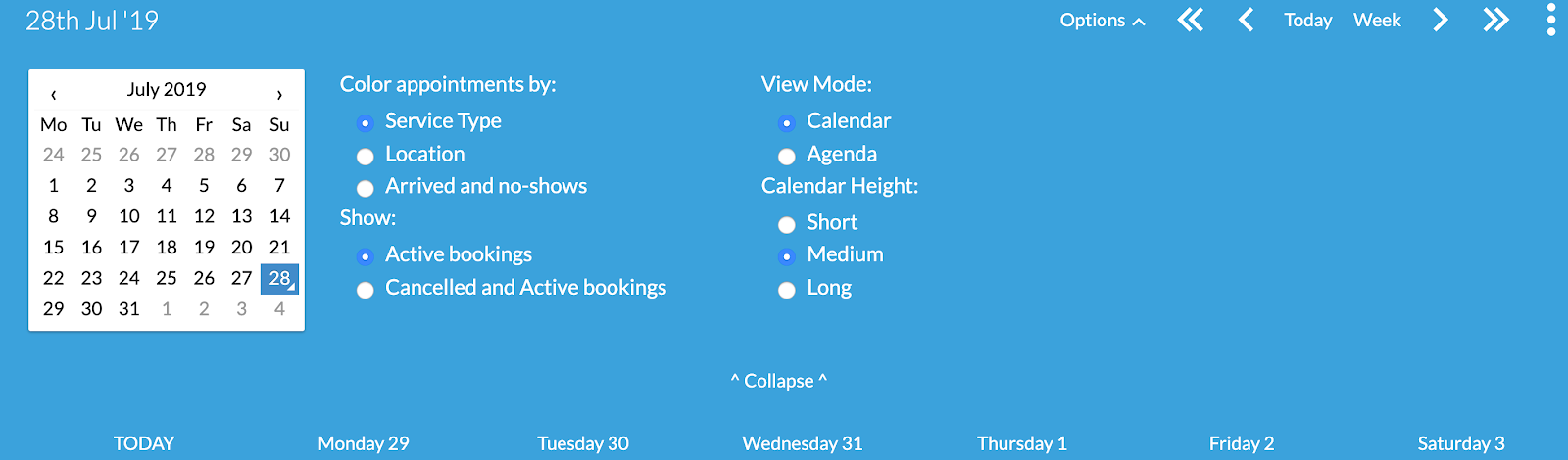 calendar view settings