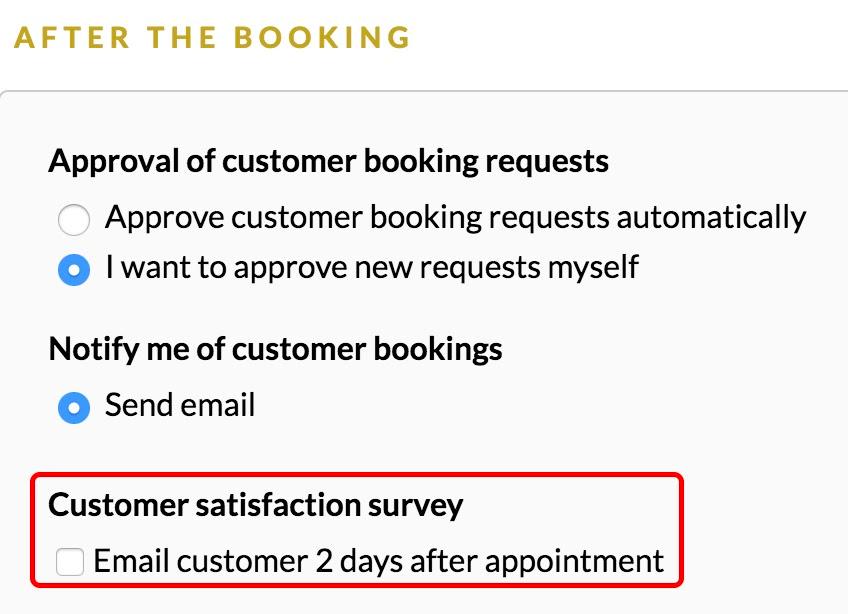Satisfaction survey panel