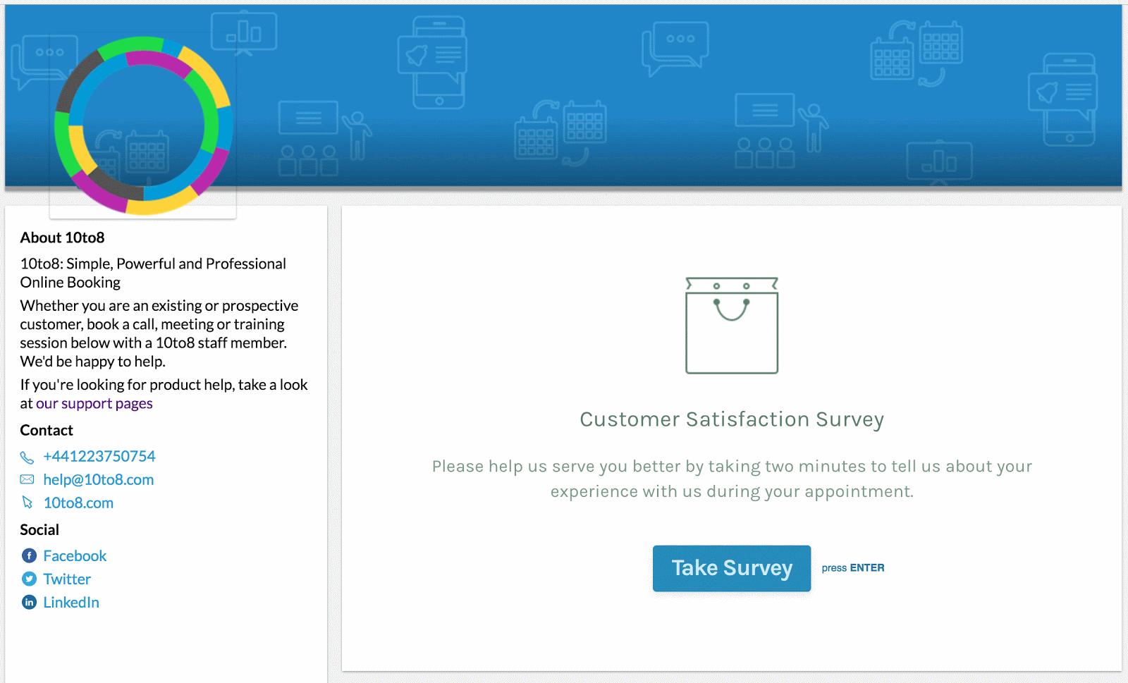 What the client sees - Survey