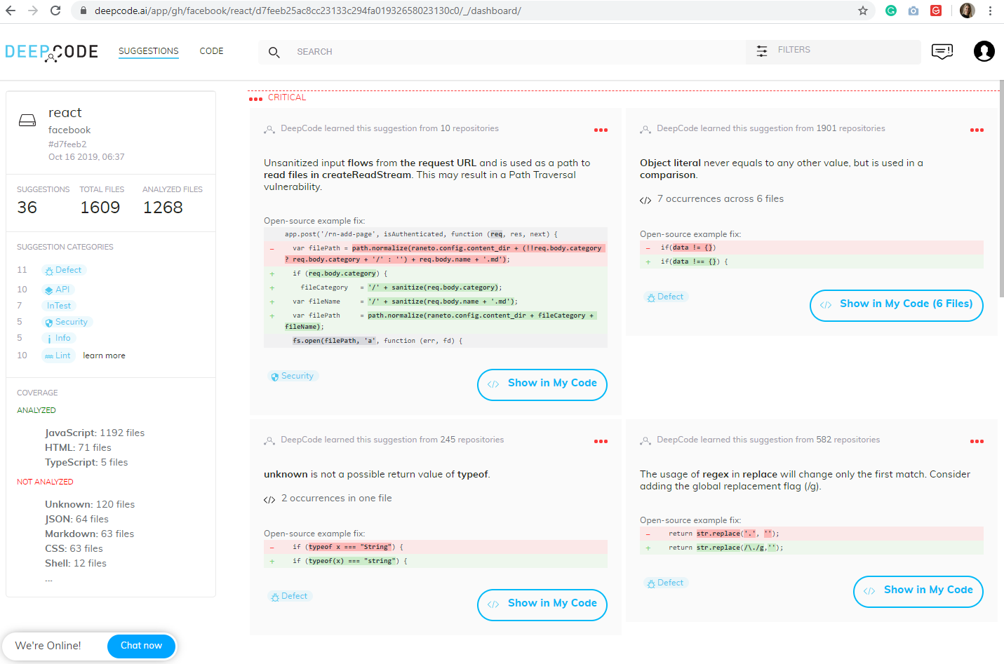 DeepCode web-based semantic code analysis