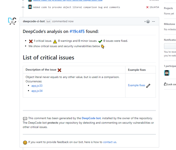 DeepCode GitHub integration and comments on pull requests