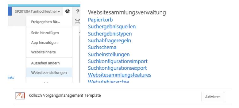 SharePoint Websitesammlungsfeatures
