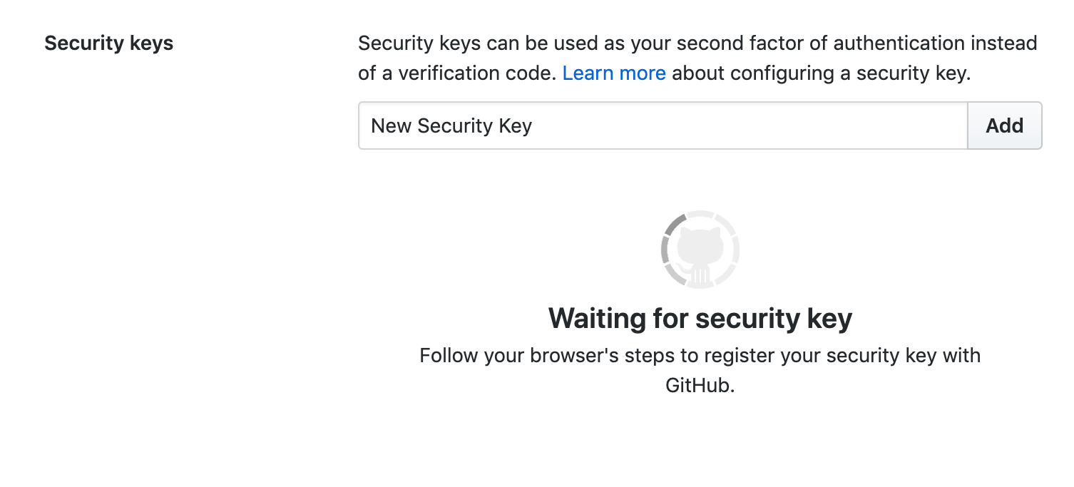 Prompt for a security key