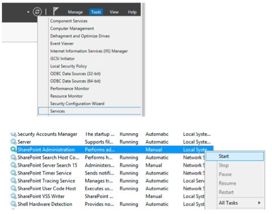 Installation SharePoint Dienst start