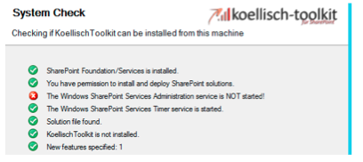 SharePoint Dienst System Check