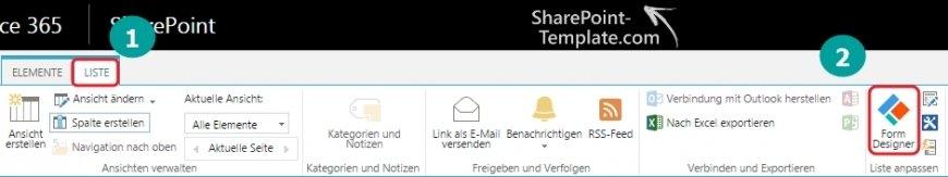SharePoint Online Formular Designer Ribbonbar