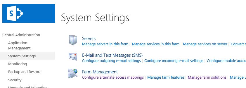 SharePoint 2016 manage farm solution