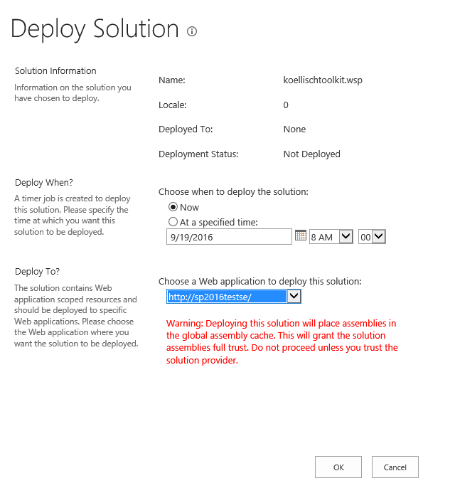 SharePoint 2016 Deploy Solution