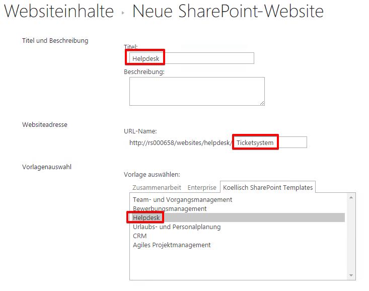 Neue SharePoint-Website