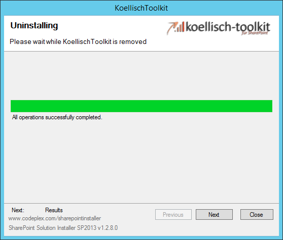 Toolkit successfully uninstalled SharePoint