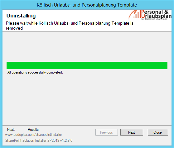 Template successfully uninstalled SharePoint