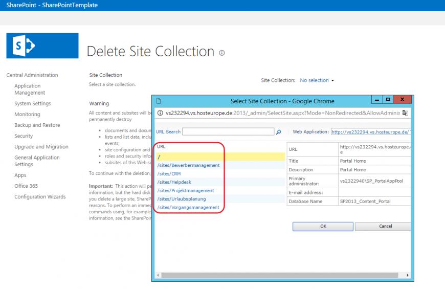 Sitecollection auswählen SharePoint