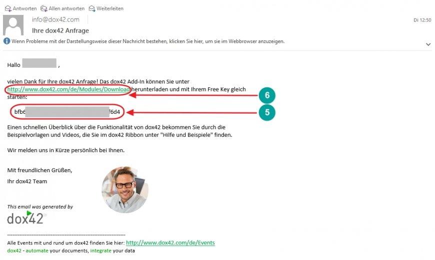Mail mit Download-Link und Free Key