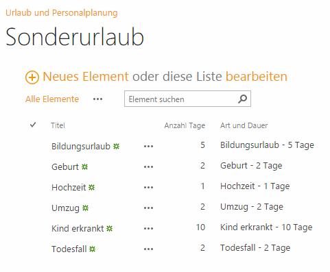 Konfiguration der Sonderurlaube in SharePoint