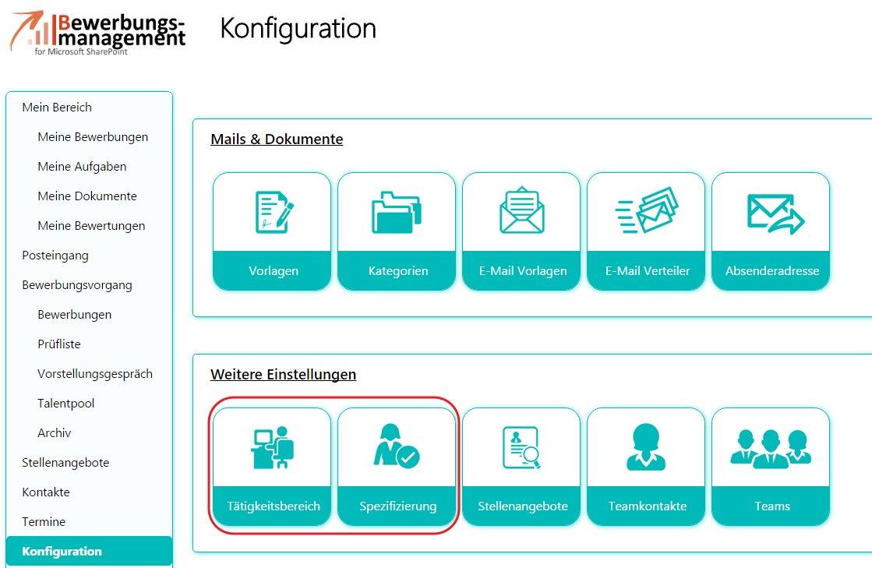 Unter Konfiguration können Sie im Bewerbermanagement für SharePoint 2013 Tätigkeitsbereiche sowie deren Spezifizierung angeben