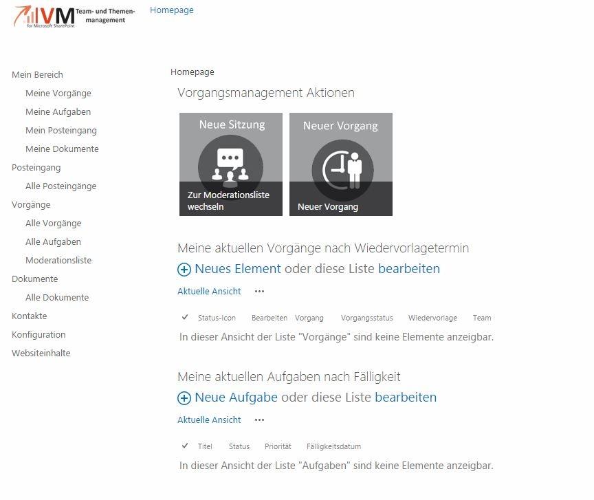 Startseite SharePoint Team Collaboration