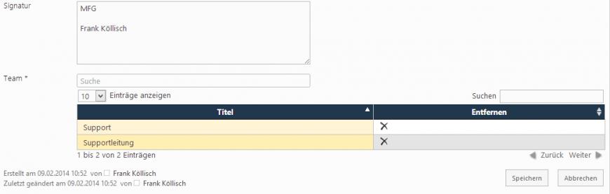 Konfiguration der Teamkontakte in SharePoint