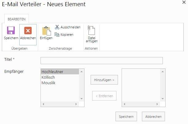 SharePoint E-Mail-Verteiler für das Team