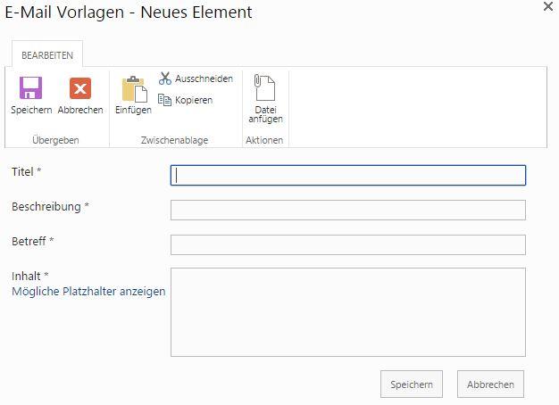 Projekt-E-Mails und -Vorlagen