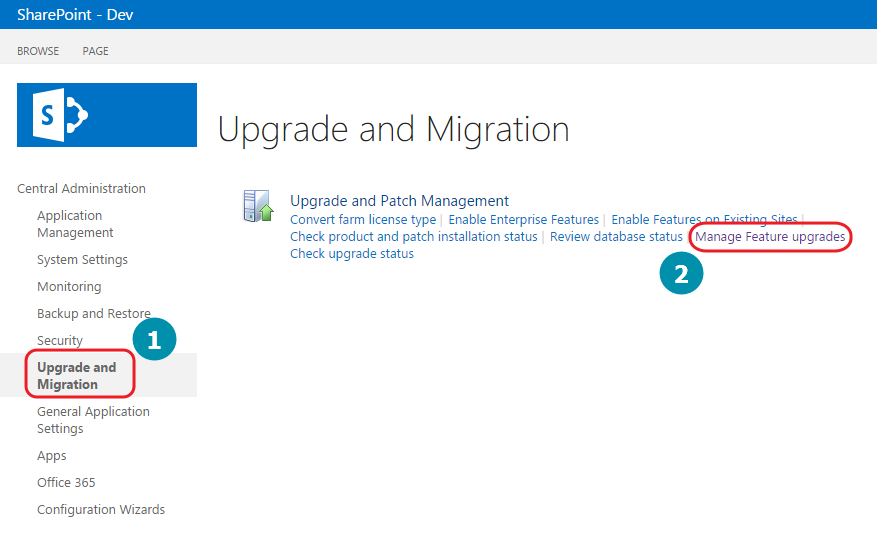 Zentraladministration Sharepoint