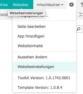 SharePoint Websiteeinstellungen