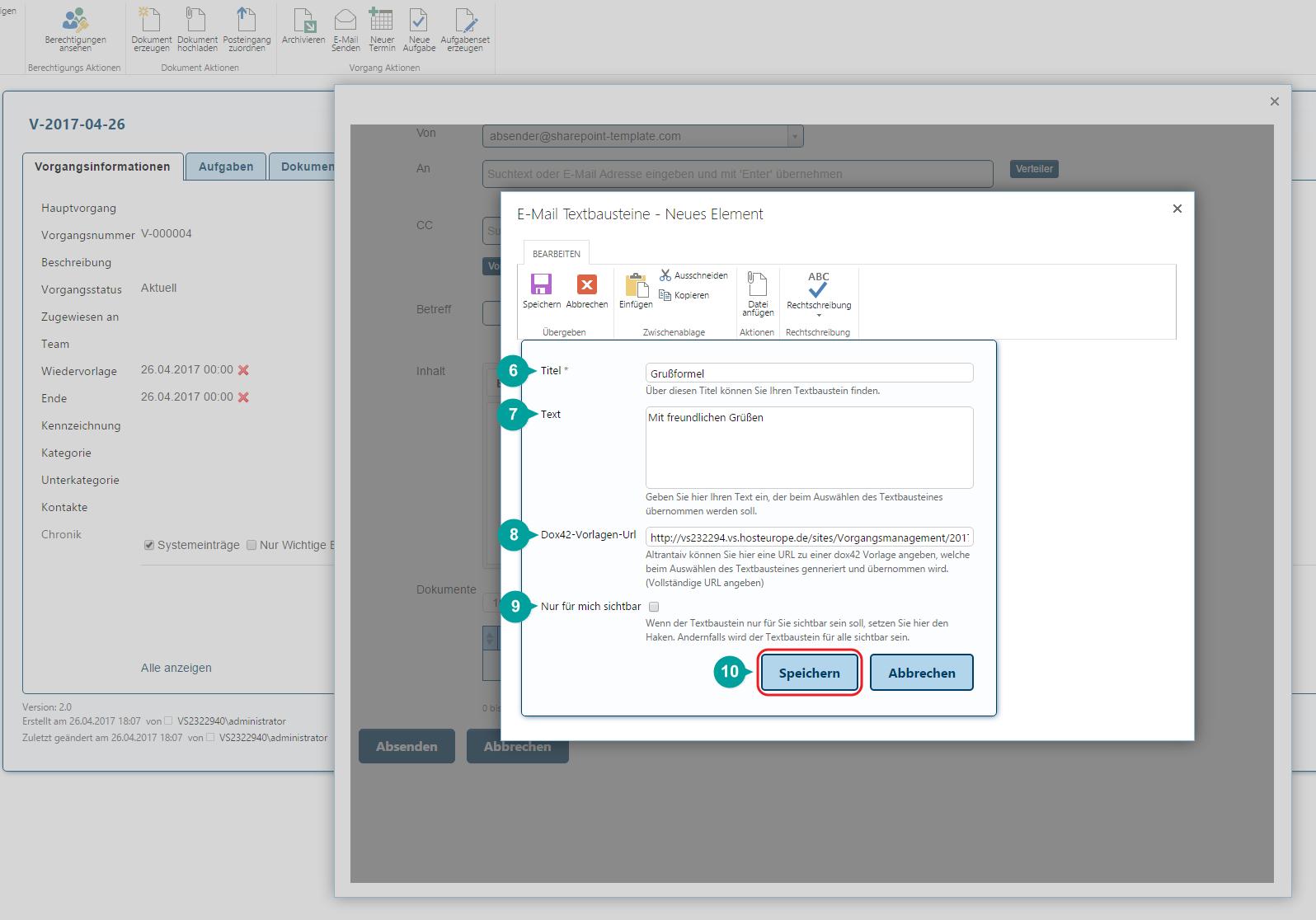 Neues Element Textbaustein Daten in SharePoint