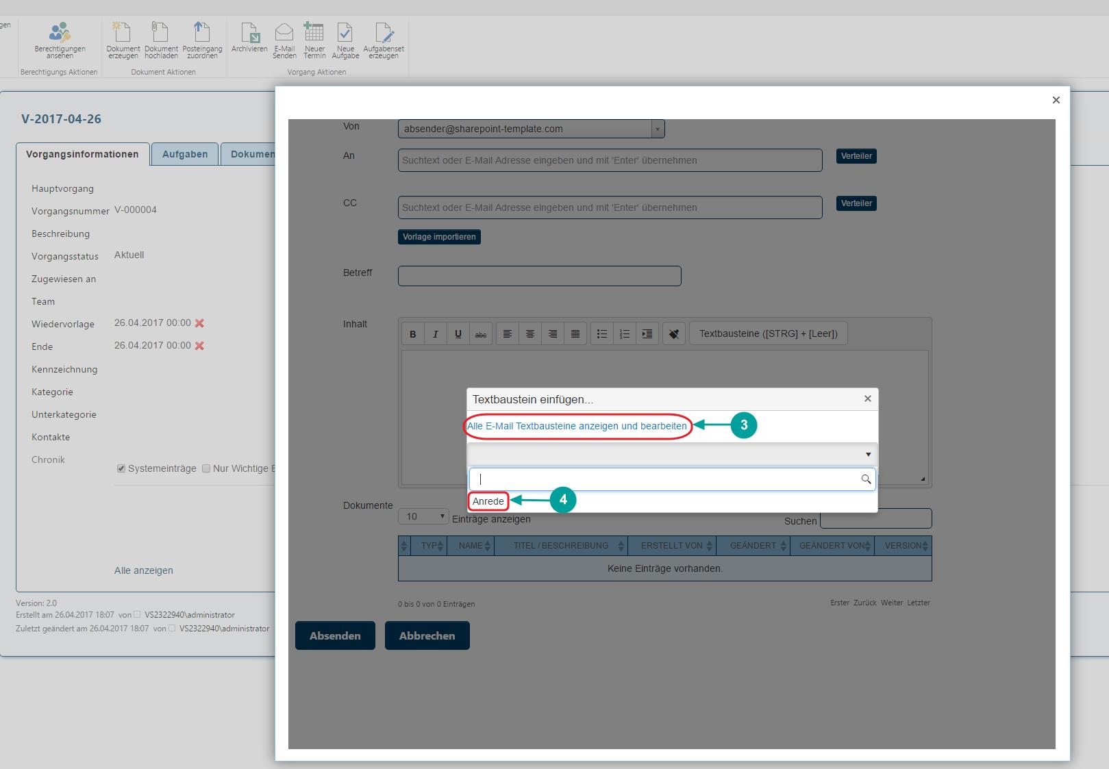 Textbausteine E-Mail Client öffnen in SharePoint