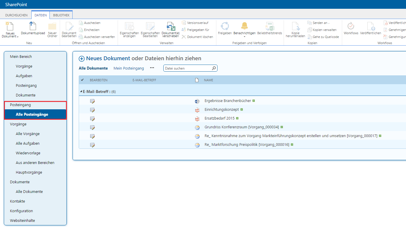 Posteingang in SharePoint