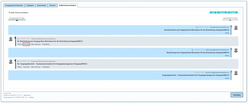 E-Mail-Kommunikation antworten SharePoint