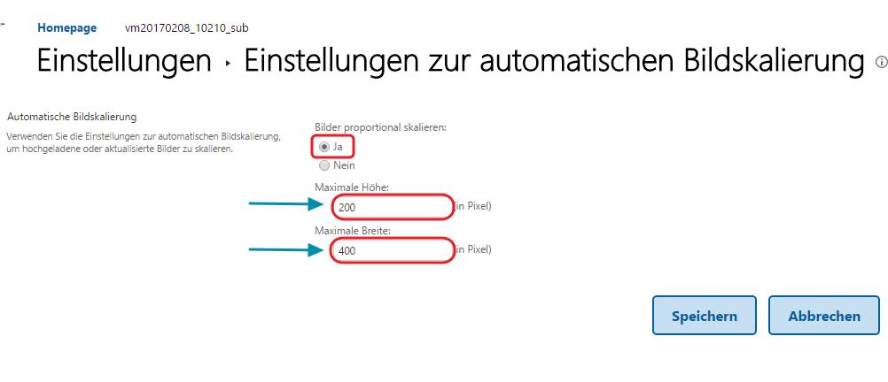 Bildskalierung konfigurieren VM SharePoint