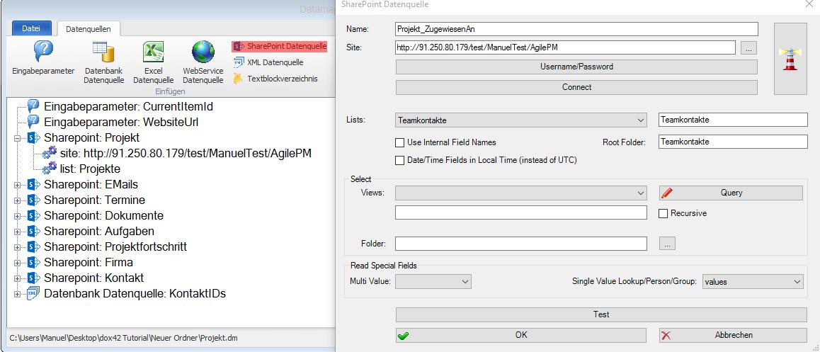 Screenshot SharePoint Datenquelle hinzufügen